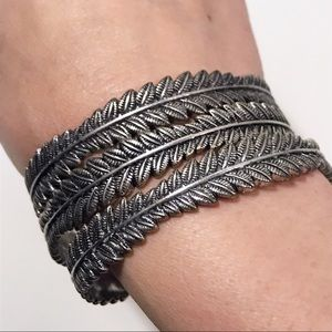 Bundle Of Three Feather Patterned Bangles